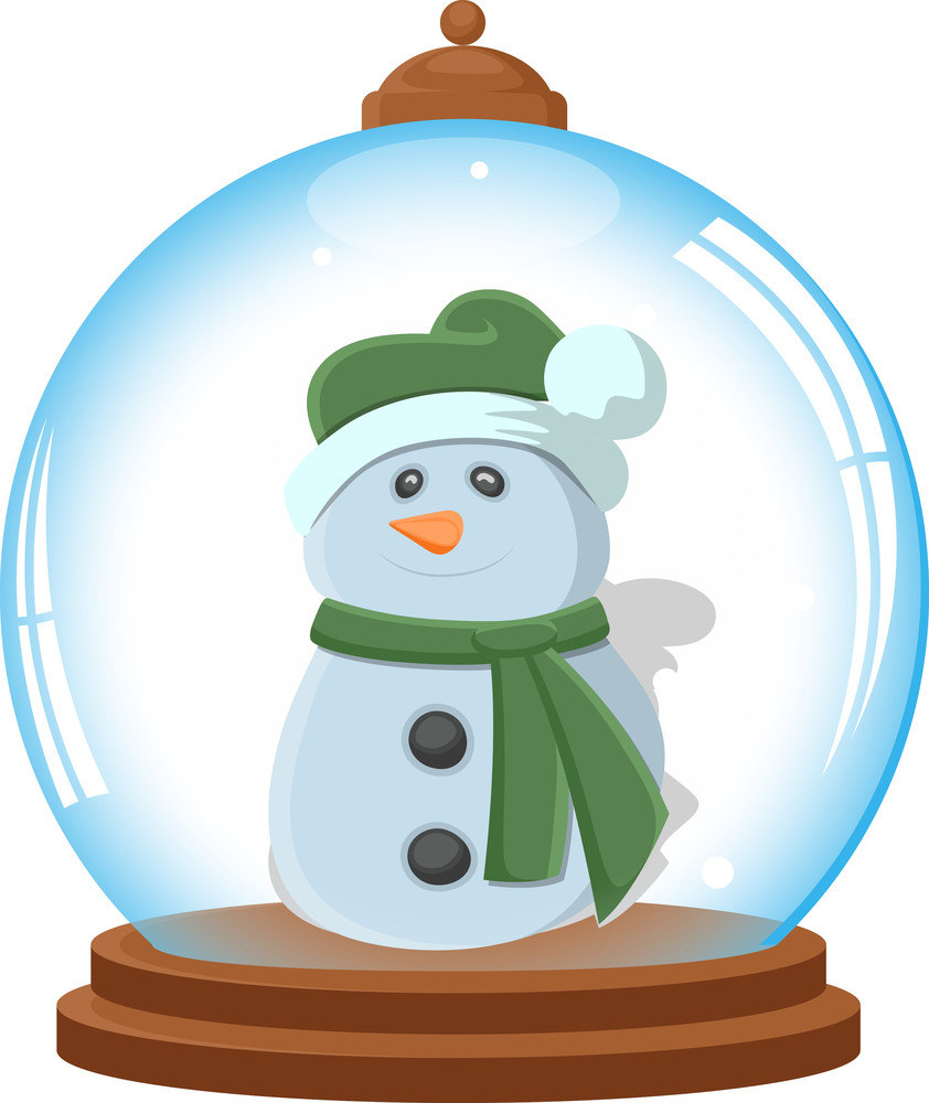 Cartoon Snowman In Ice Globe