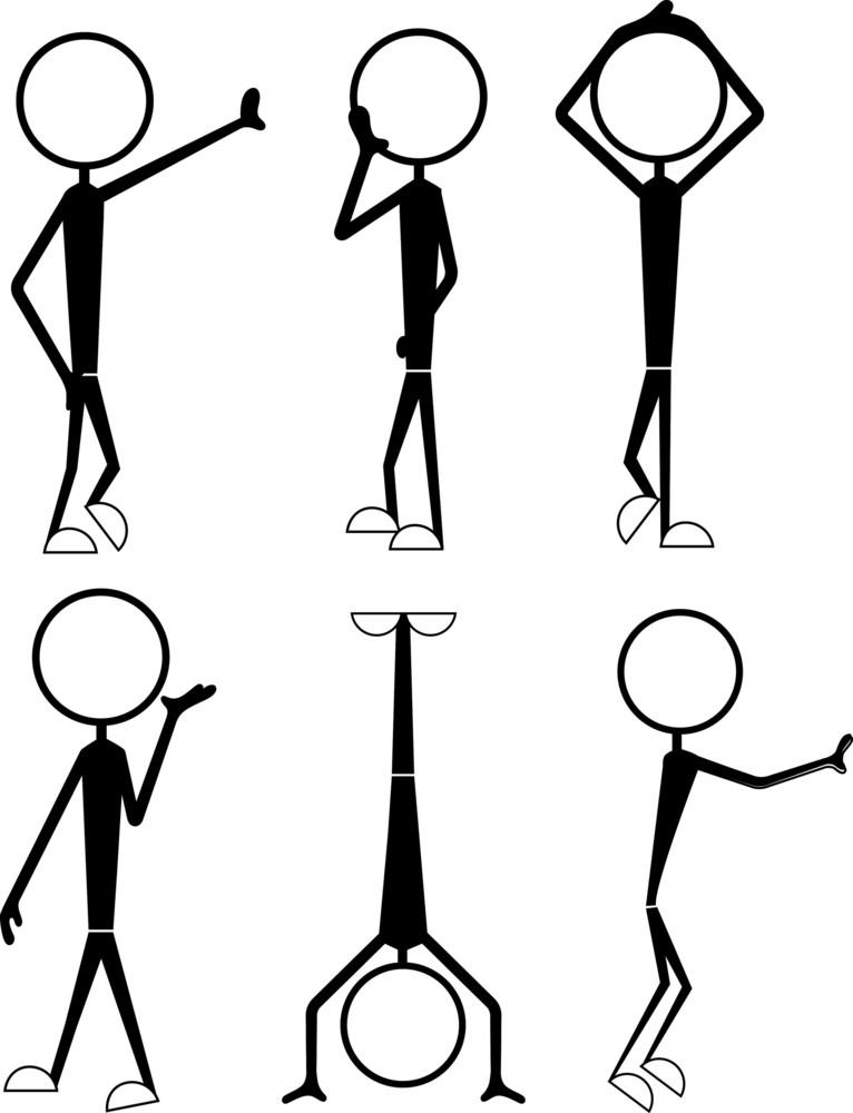 Cartoon Stick Figure Gestures