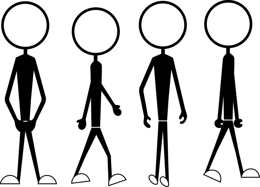 stick cartoon figure poses actions drawing