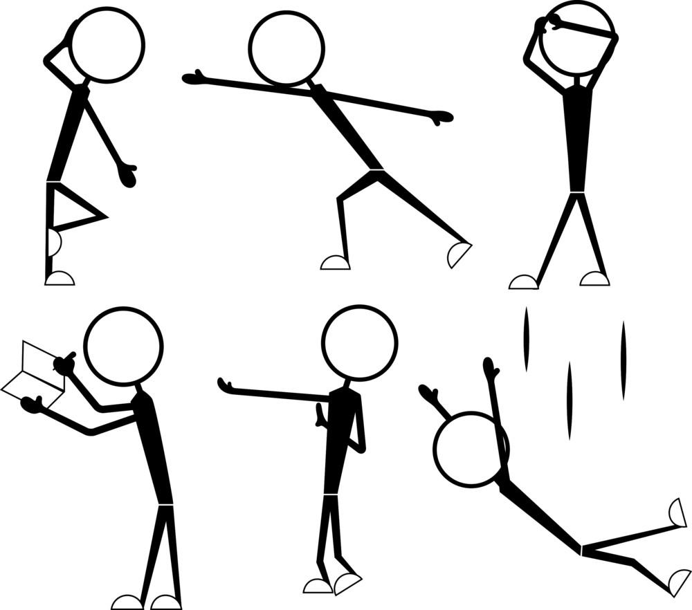 Cartoon Stick Figures Poses Set