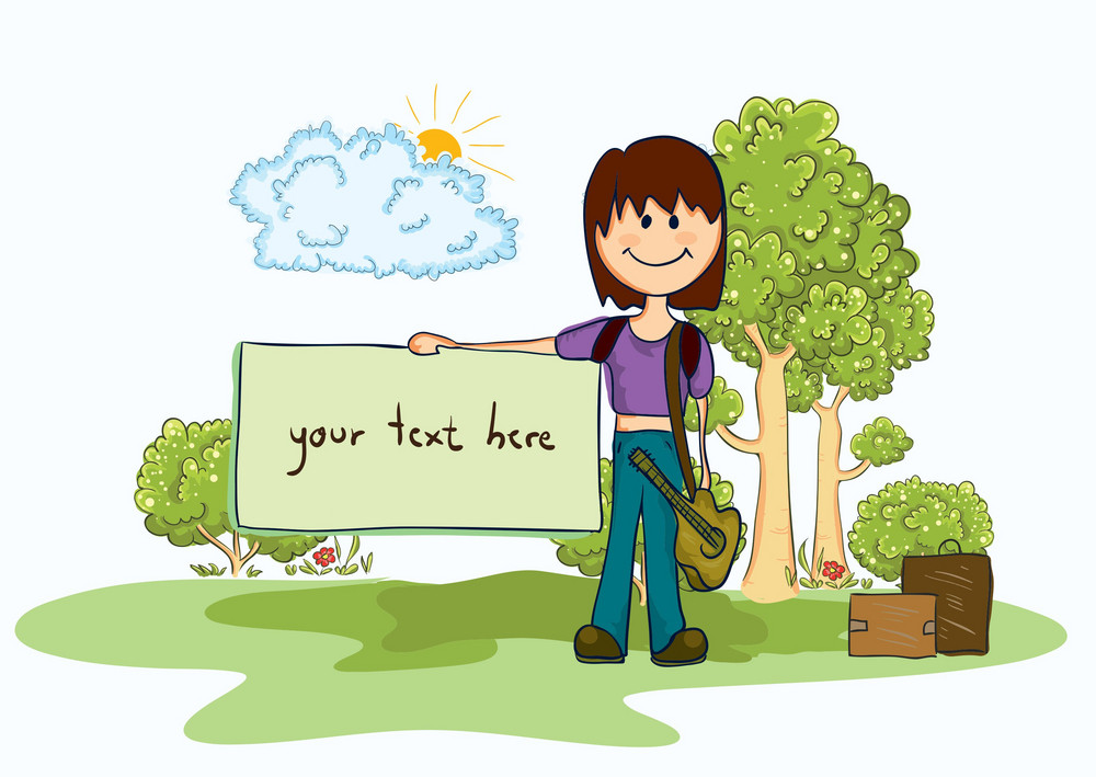 Cartoon Summer Background Vector Illustration