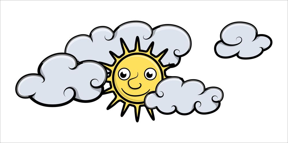 Cartoon Sun And Clouds