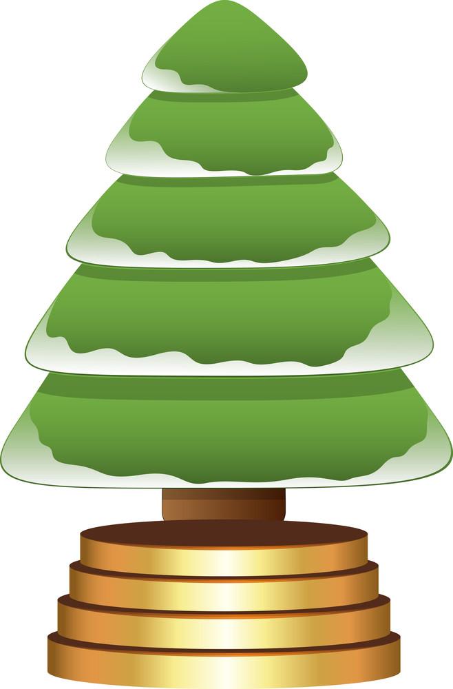 Cartoon Tree - Christmas Vector Illustration