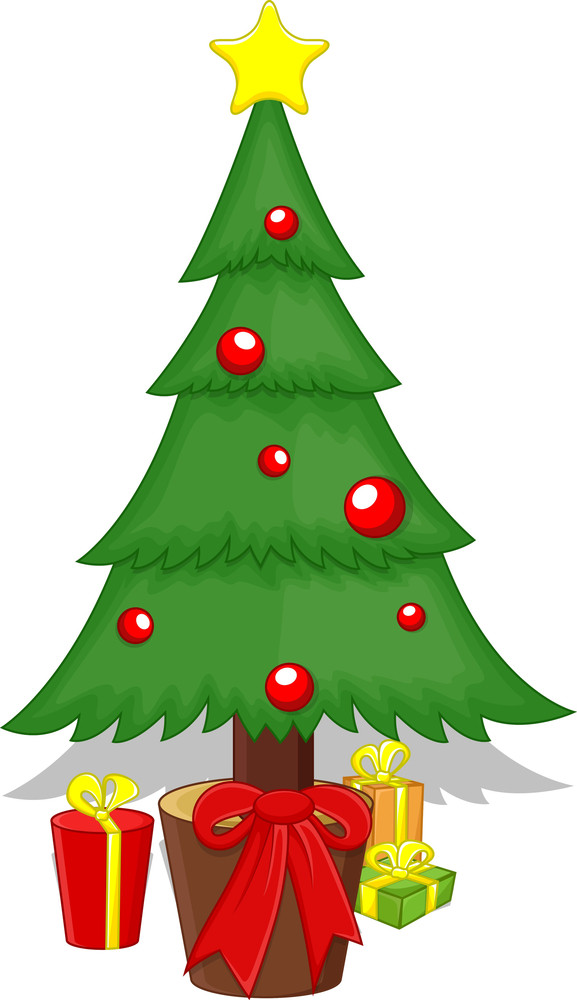 Cartoon Tree - Christmas Vector Illustration
