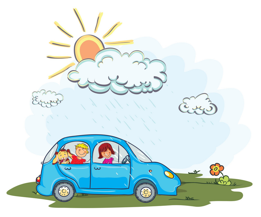 Cartoon Vector Background With Car