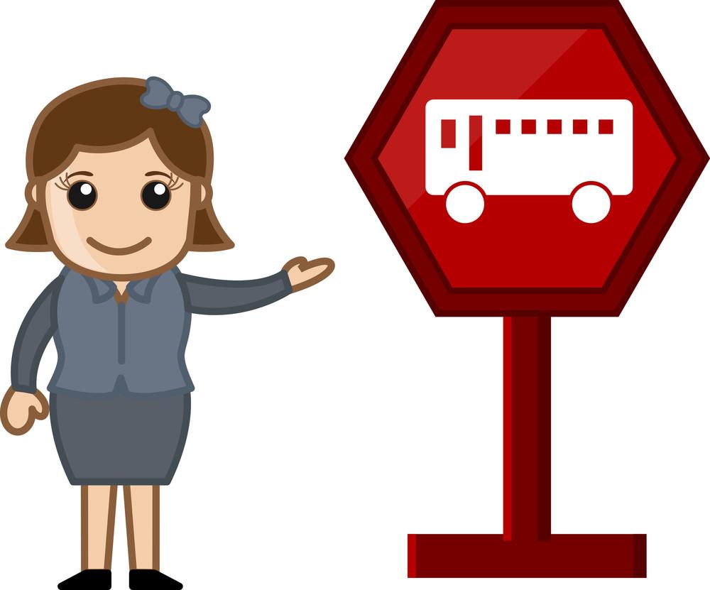 Cartoon Vector - Bus Stop