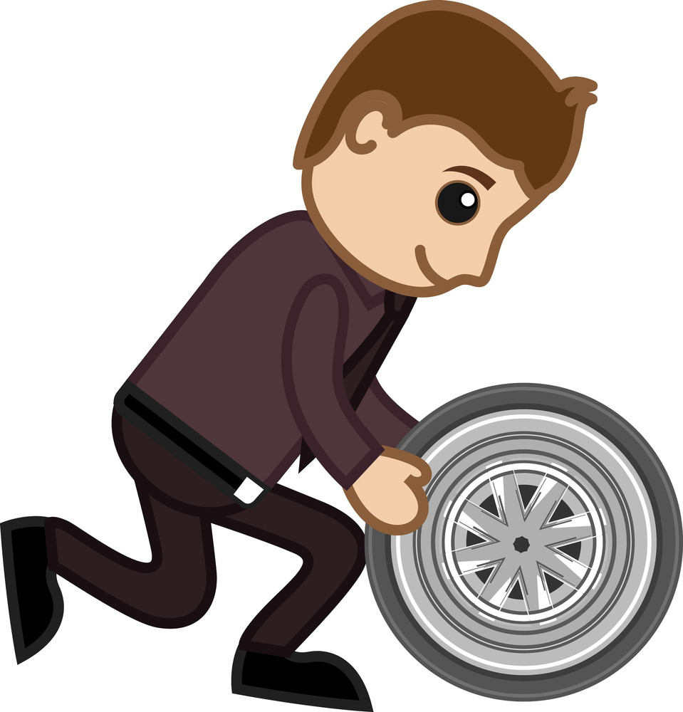 Cartoon Vector - Changing The Vehicle Wheel