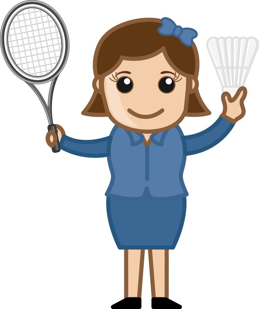 Cartoon Vector Character - Badminton
