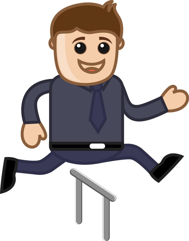 Cartoon Vector Character - Cartoon Man Jumping In Race