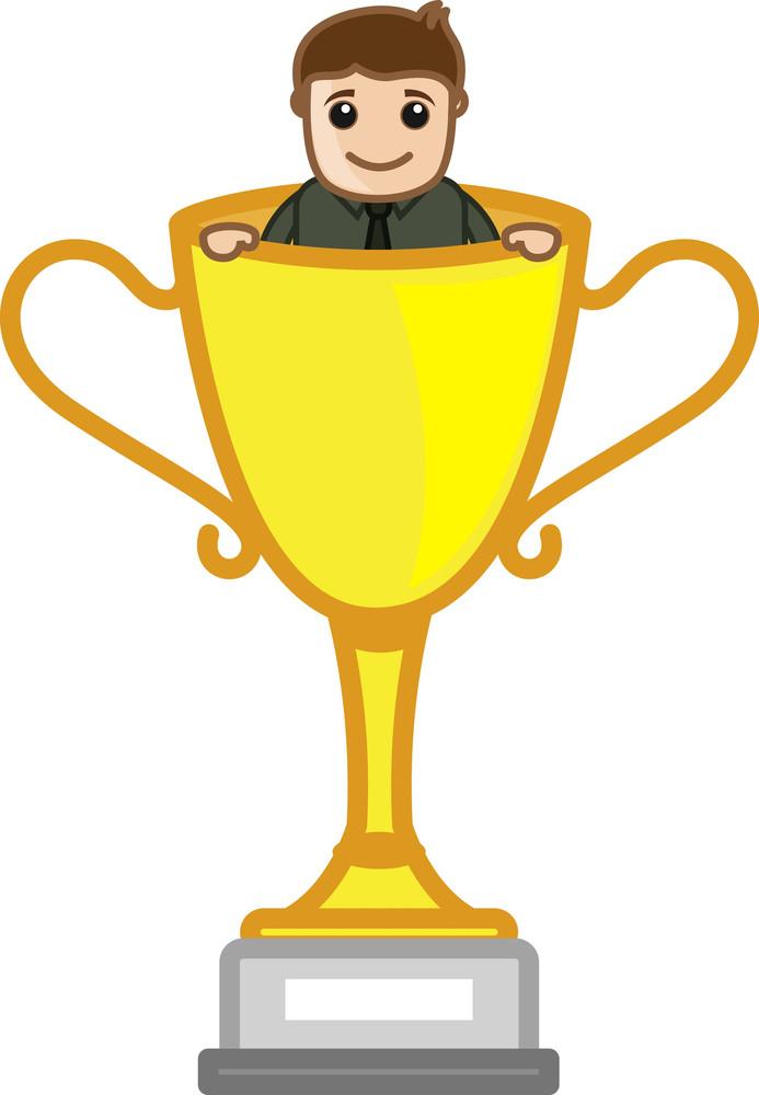 Cartoon Vector Character - Cartoon Man Standing In Victory Cup