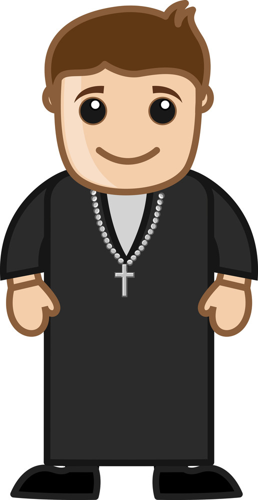 Cartoon Vector Character - Church Priest