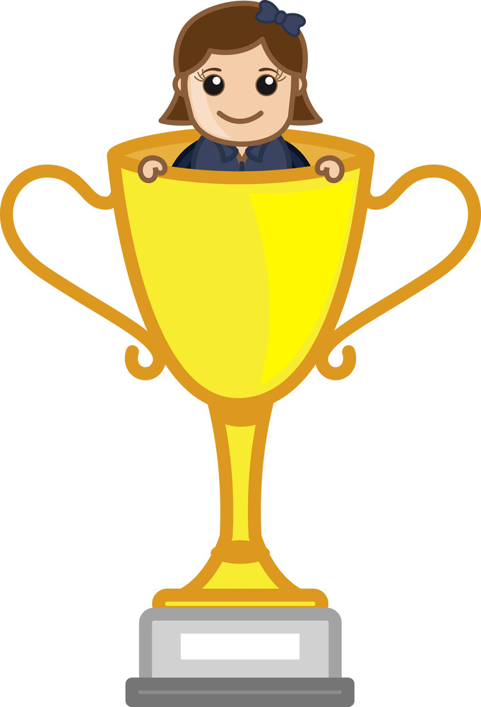 Cartoon Vector Character -  Female In Winning Cup