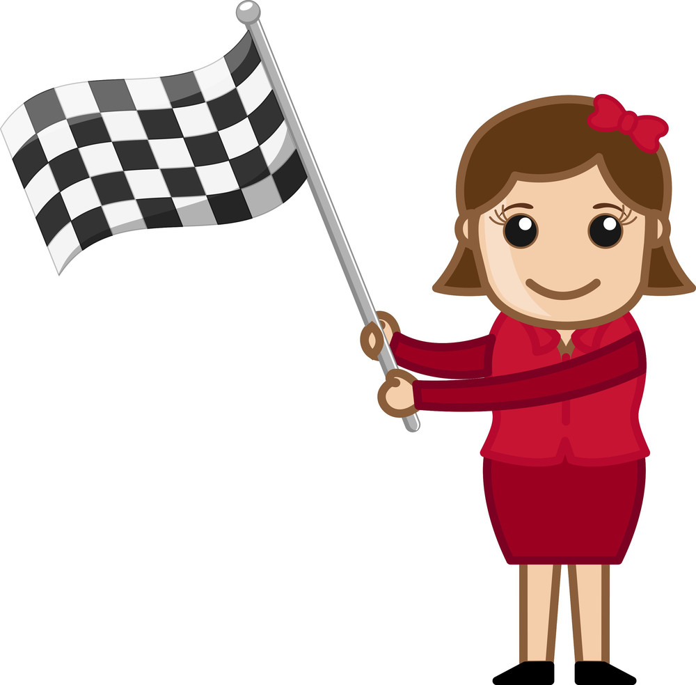 Cartoon Vector Character - Girl Holding A Racing Flag