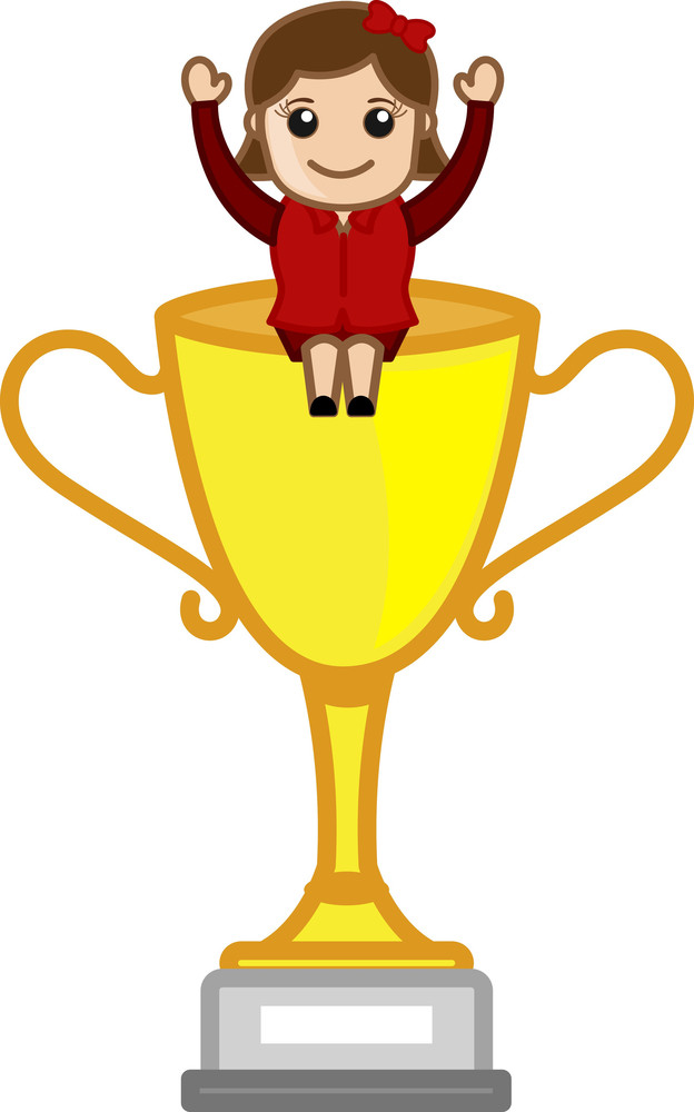 Cartoon Vector Character - Girl Sitting On Victory Cup