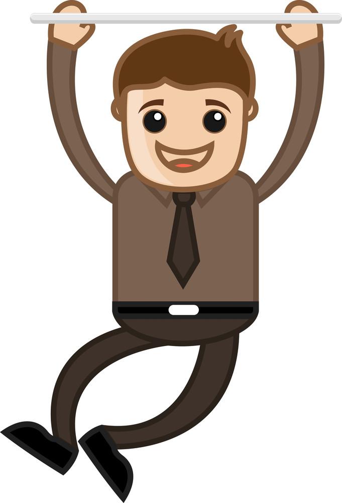 Cartoon Vector Character - Happy Man Hanging