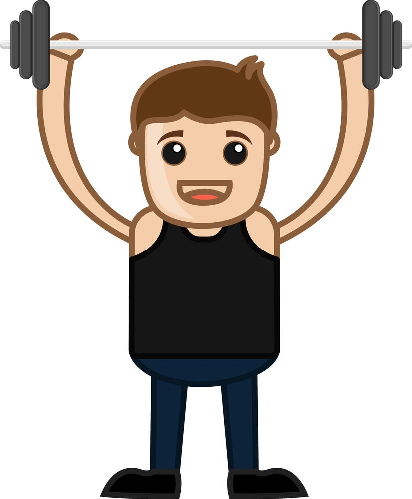 Cartoon Vector Character - Weightlifting