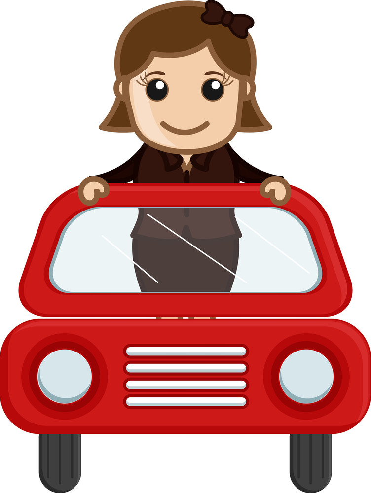 Cartoon Vector - Girl In Red Car