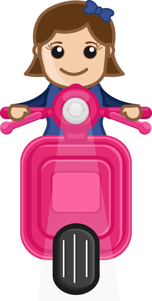 Cartoon Vector - Girl Riding On Scooter