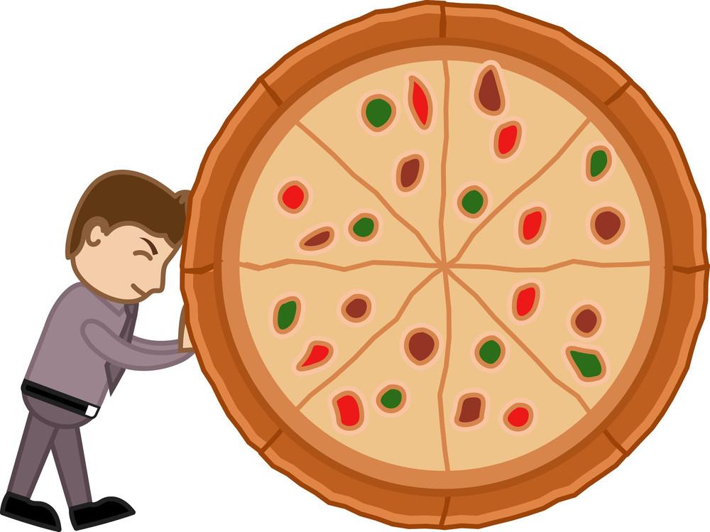 Cartoon Vector Man Dragging A Pizza - No To Junk Food Concept