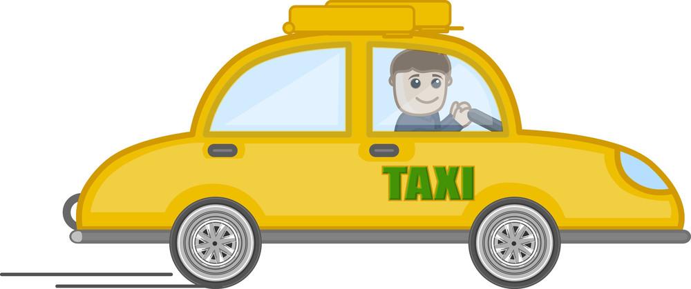 Cartoon Vector - Man Driving A Taxy