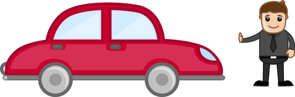 Cartoon Vector - Man Standing In Front Of A Car