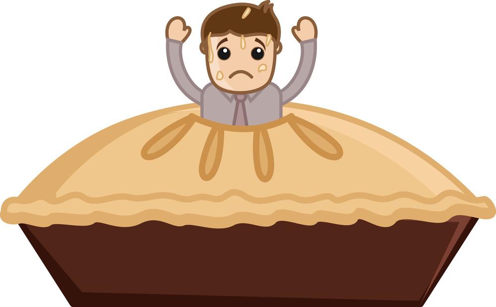 Cartoon Vector Man Stuck In Apple Pie