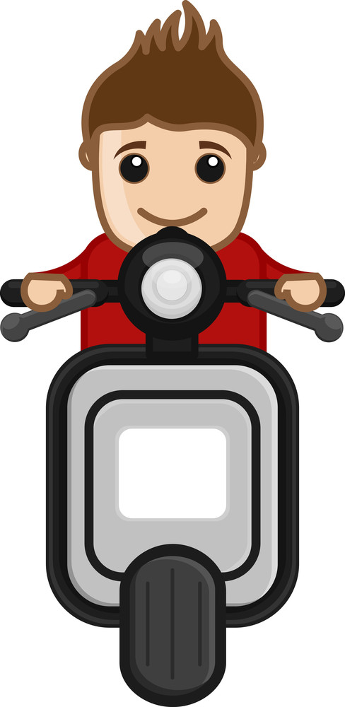 Cartoon Vector - Riding On Scooter