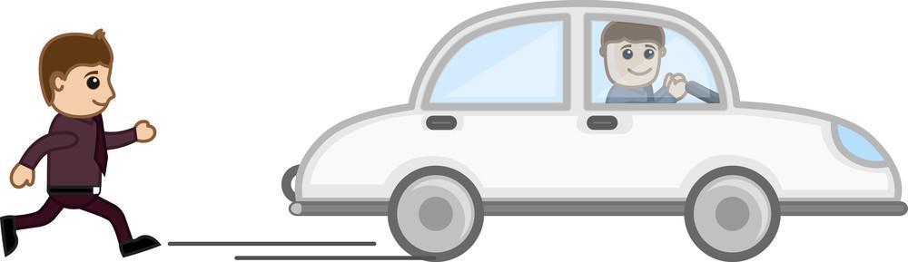Cartoon Vector - Running Behind A Car