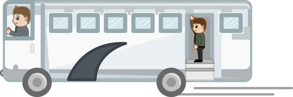 Cartoon Vector - Travel By Bus