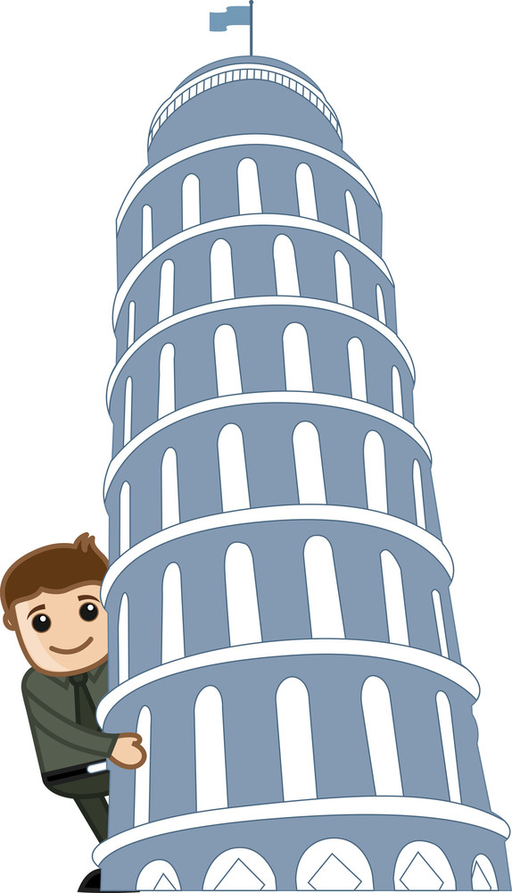 Cartoon Vector - Travel Italy - Leaning Tower Of Pisa