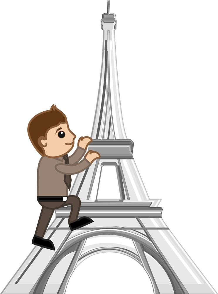 Cartoon Vector - Travel Paris - Eiffel Tower
