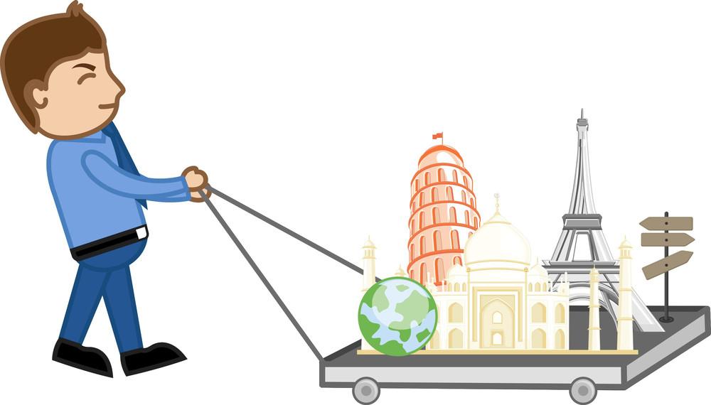 Cartoon Vector - Travel World Tour Wish List Concept