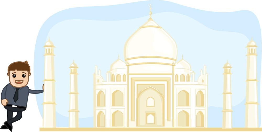 Cartoon Vector - Visit Taj Mahal