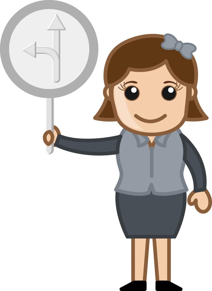 Cartoon Vector Woman Showing Arrows Sign