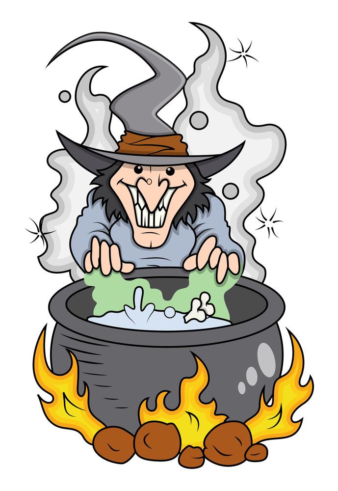 Cartoon Witch Cooking - Halloween Vector Illustration