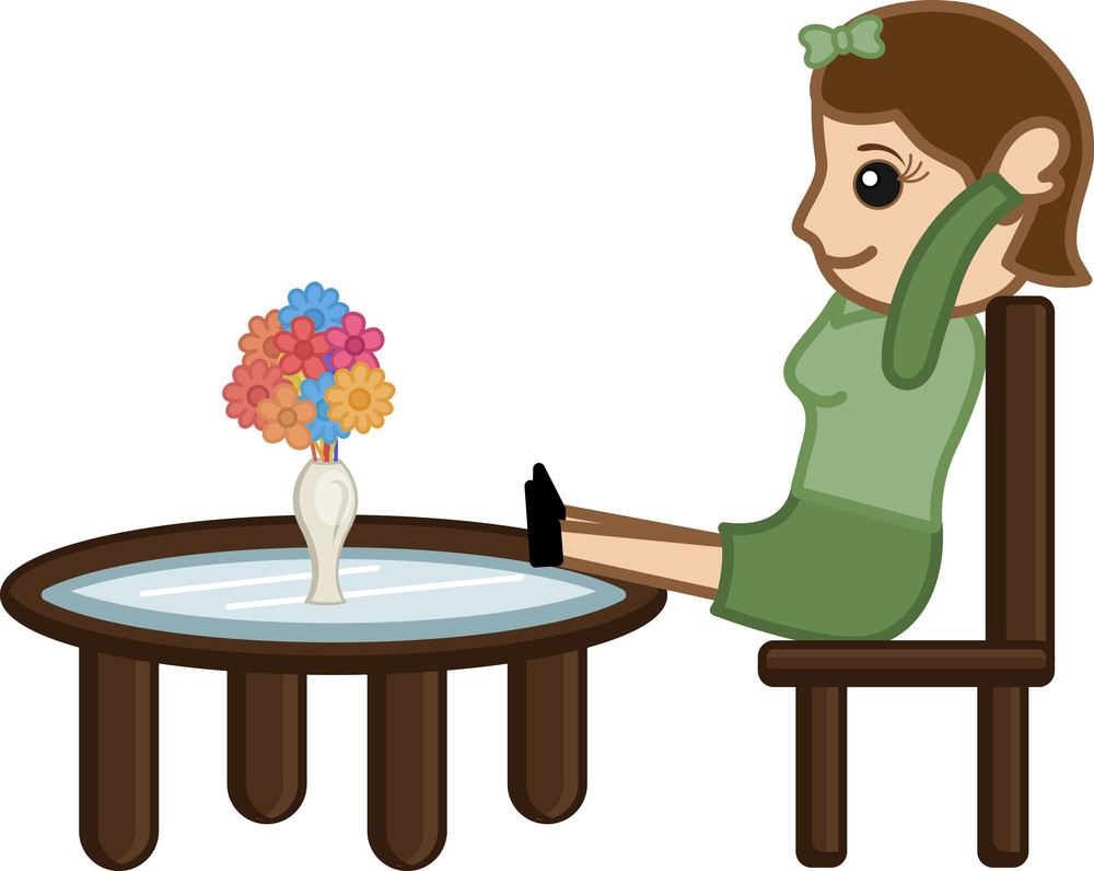 Cartoon Woman Taking Rest On Chair