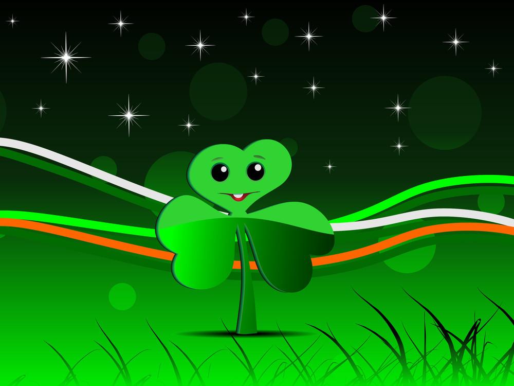 Cartoonish Shamrock Leaf For St. Patrick's Day.