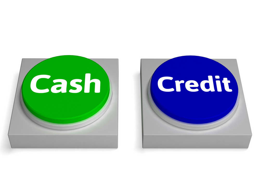 Cash Credit Buttons Shows Currency Or Loan