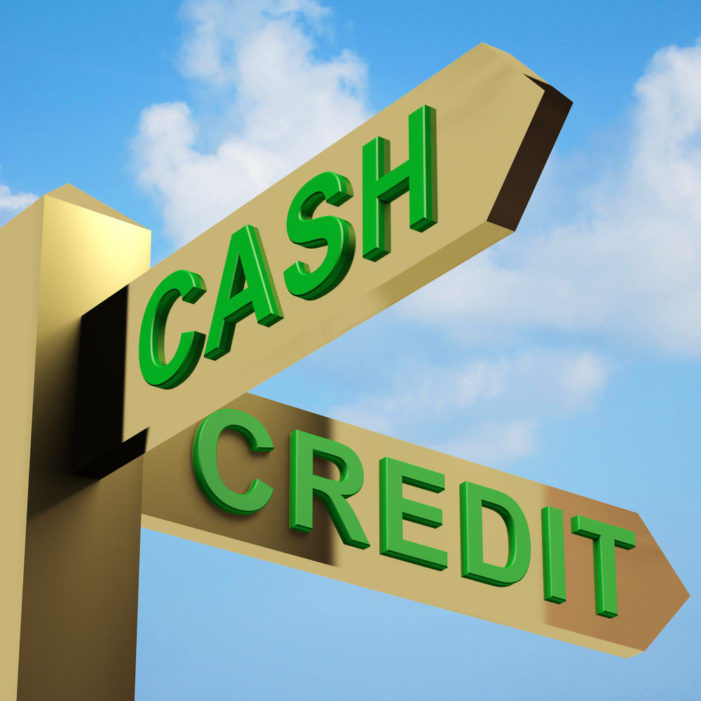 Cash Or Credit Directions On A Signpost