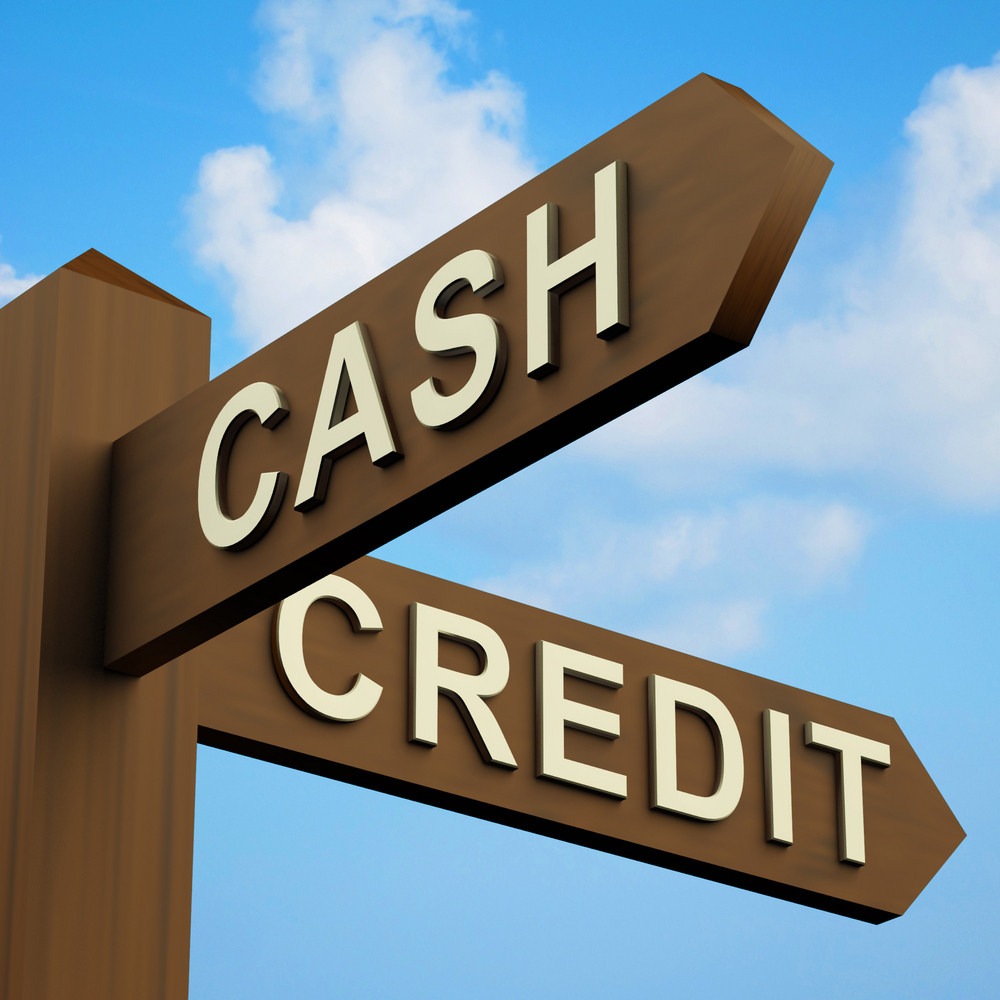 Cash Or Credit Words On A Signpost