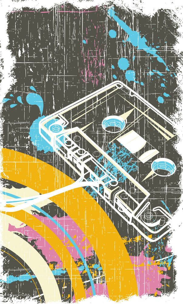 Cassette With Grunge Vector T-shirt Design