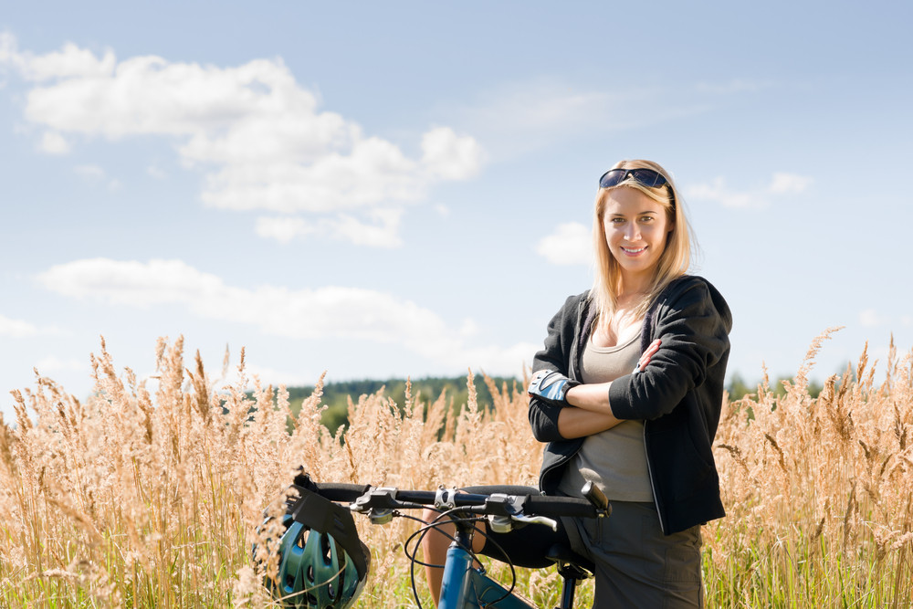 Mountain Biking Happy Young Woman Relax In Cornfield Sunny