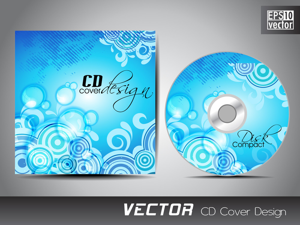 Cd Cover Presentation Design Template With Copy Space And Floral Effect