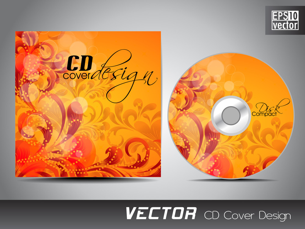 cd cover presentation design template with copy space and floral, Presentation templates