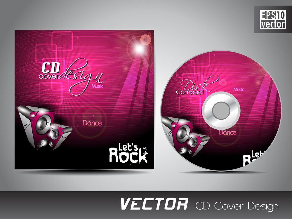 cd cover presentation design template with copy space and music, Presentation templates