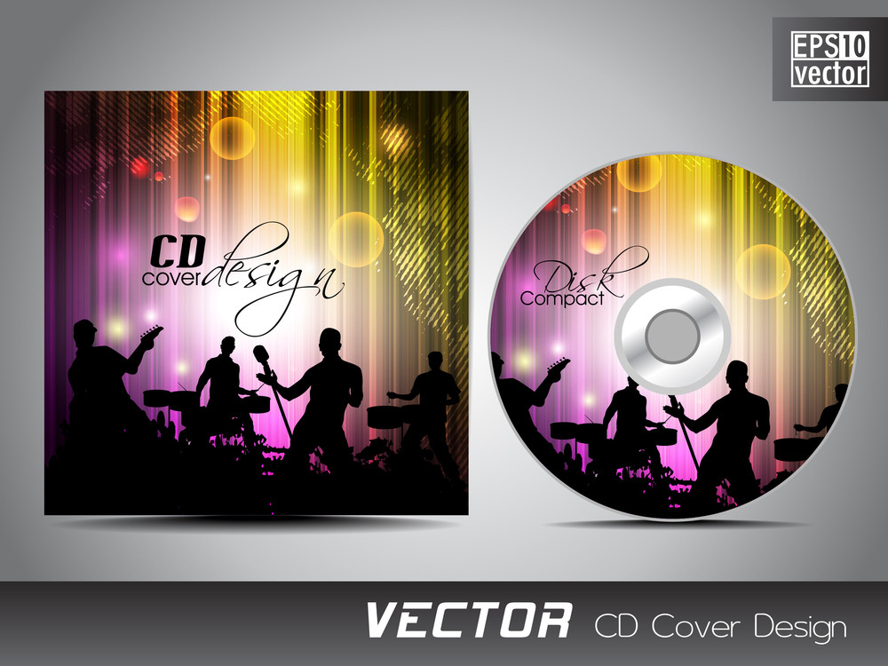 Cd Cover Presentation Design Template With Copy Space And Music Concept