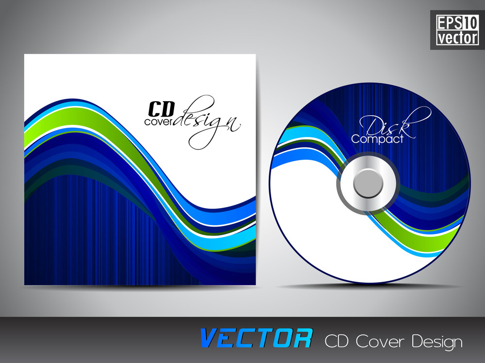 Cd Cover Presentation Design Template With Copy Space And Wave Effect In Blue Color
