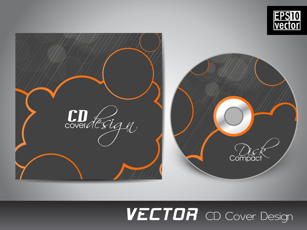 Cd Cover Presentation Design Template With Copy Space And Wave Effect