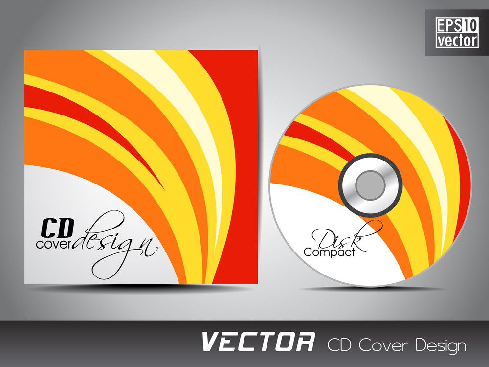 cd cover presentation design template with copy space and wave, Presentation templates