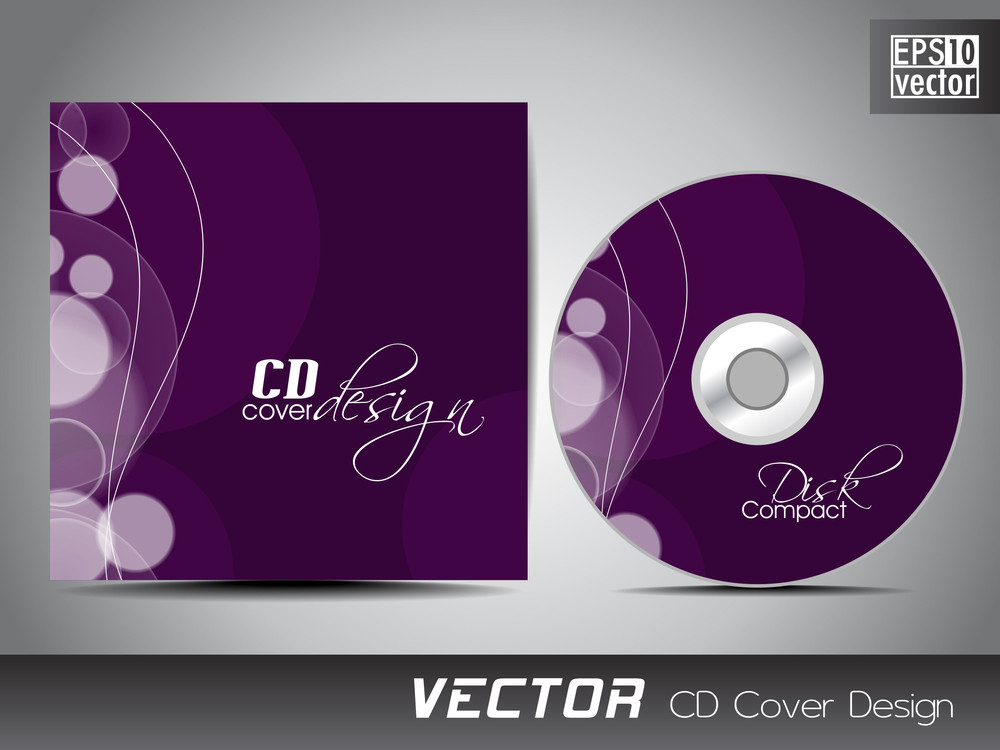 cd cover presentation design template with copy space and wave